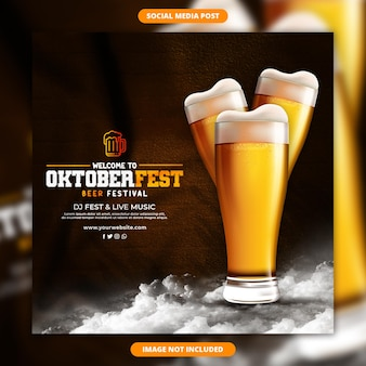 옥토버 페스트 맥주 축제를위한 소셜 미디어 배너 및 게시물 디자인