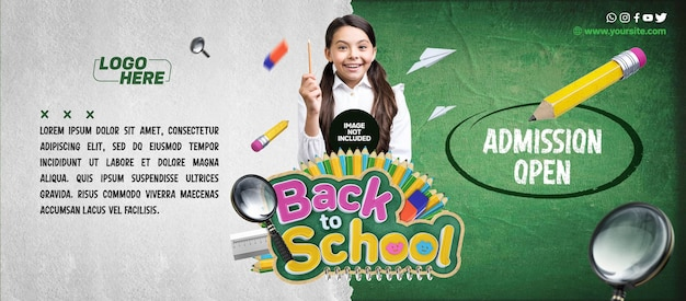 Social media banner back to school admission open