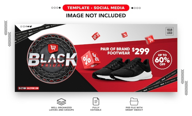 Social media banner black friday template with up to 60 off for online stores