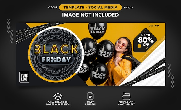 Social media banner black friday template with up to 80 off for womens online stores