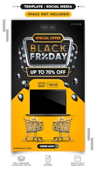 Social media banner black friday with up to 70 off