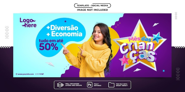 Social media banner childrens month with more fun and economy
