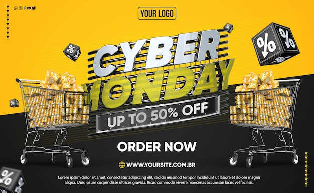 Баннер в социальных сетях кибер-понедельник со скидкой до 50
