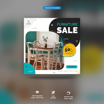 Social media banner for furniture template premium psd