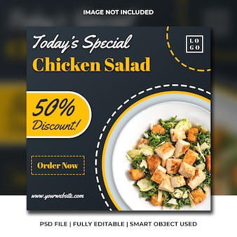 Social media banner post fast food restaurant yellow and black psd template