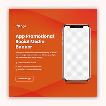 Social media banner template for app promotion and marketing