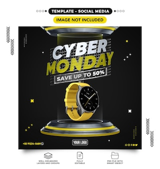 Social media banner template for cyber monday save up to 50