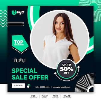 Social media banner template for fashion sale