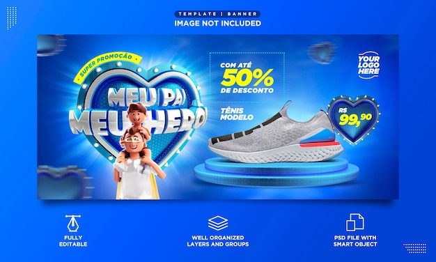 Social media banner template fathers day brazil my father my hero