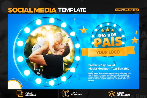 Social media banner template fathers day in portuguese 3d render