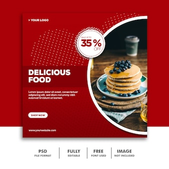 Social media banner template instagram, delicious food