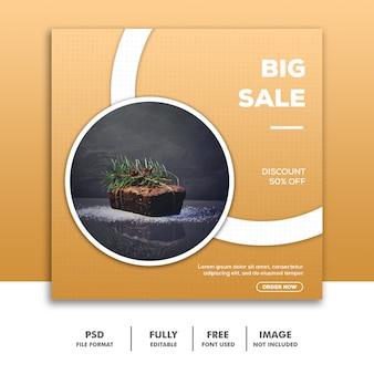 Social media banner template instagram, food luxury big sale