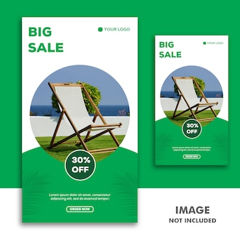 Social media banner template instagram story, furniture luxury green sale