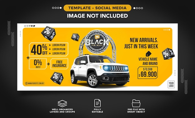 Social media banner with car news on black friday this week only