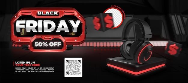 소셜 미디어 블랙 프라이데이 50 할인 프로모션 banne 템플릿 3d 렌더링