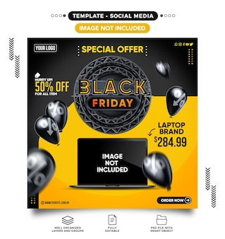 Social media black friday with several products with up to 50 off