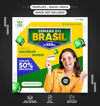 Social media brazil week concept with up to 50 of