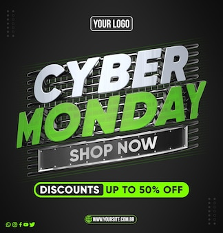 Social media cyber monday concept with up to 50 off