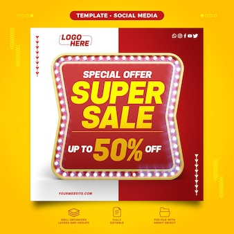 Social media d retro with super sale special offer