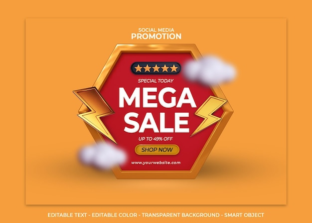 Social media discount promotion mega sale 3d render with flash and cloud