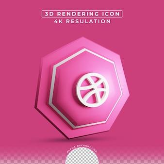 소셜 미디어 드리블 아이콘 3d 렌더링