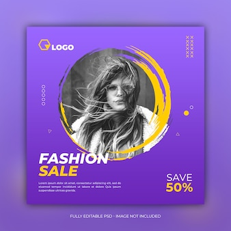 Social media fashion sale square banner template