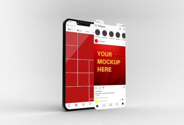 ソーシャルメディアのフィードとスマートフォンのモックアップへの投稿
