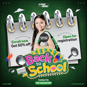 Social media feed back to school open for registration enroll now get 50 off