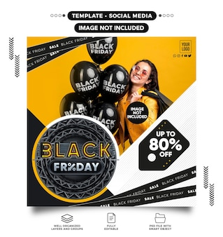 Social media feed black friday template with up to 80 off for womens online stores