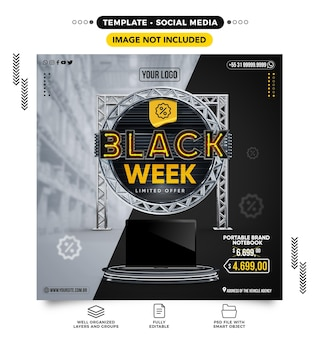 Social media feed black week with products on offer