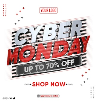 Social media feed cyber monday up to 70 off