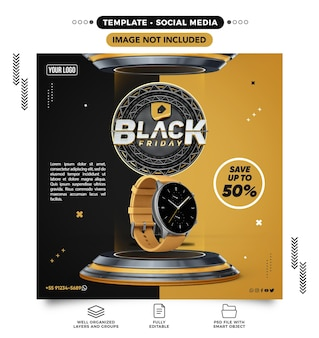 Social media feed template for black friday save up to 50