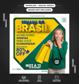 Social media feed template brazil week the best deals for you to save