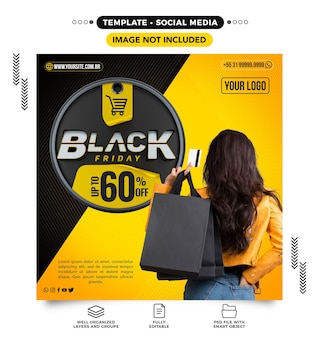Шаблон ленты социальных сетей для выпуска черной пятницы