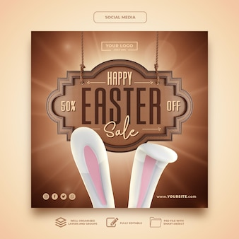 Social media happy easter sale rabbit template