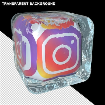 소셜 미디어 아이콘이 아이스 큐브에 있습니다.
