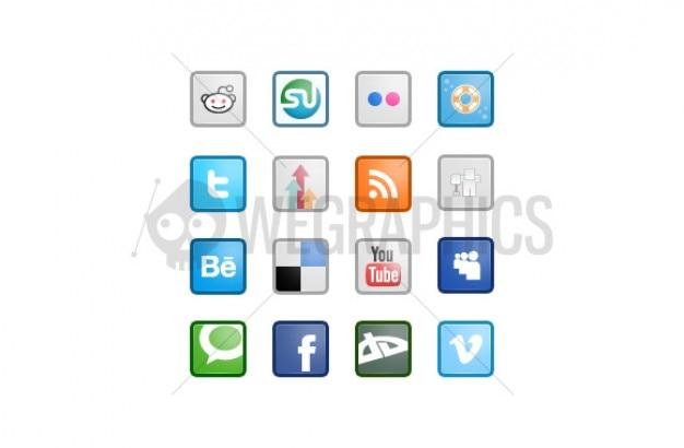 正方形2におけるソーシャルメディアのアイコン