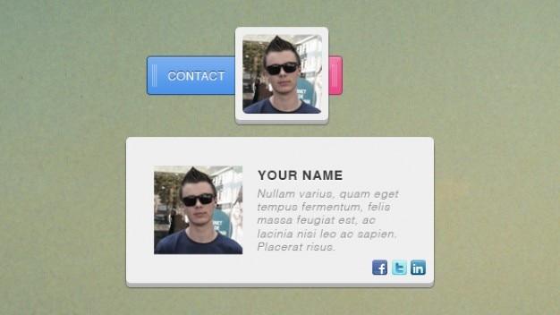 Social media info card with avatar