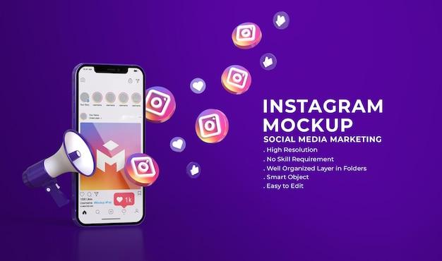 Социальные сети instagram 3d-макет с концепцией маркетинга в социальных сетях