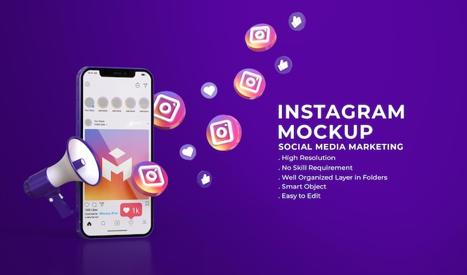 소셜 미디어 마케팅 개념이있는 소셜 미디어 인스 타 그램 3d 모형