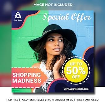Social media instagram fashion discount modern color template