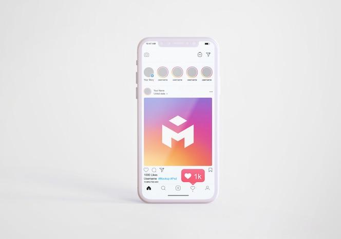 Social media instagram on mobile phone mockup