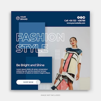 Social media instagram post banner template with fashion sale banner or square flyer concept
