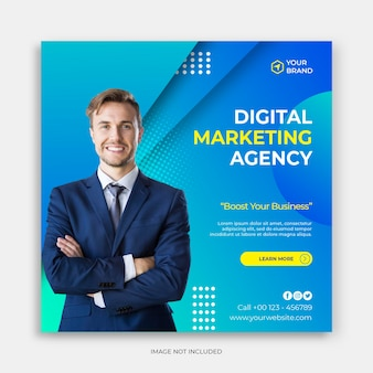 Social media instagram post banner template with modern corporate concept