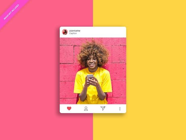 ソーシャルメディアinstagramポストフレームモックアップ