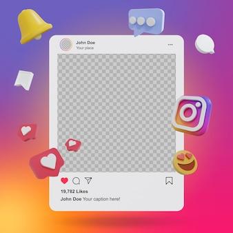Макет публикации в социальных сетях instagram