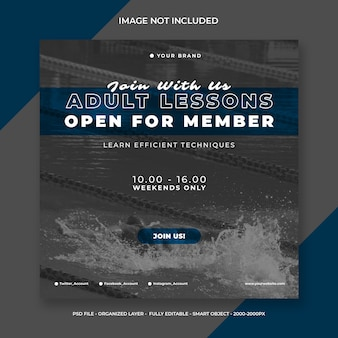 Social media instagram post or square banner template swimming registration
