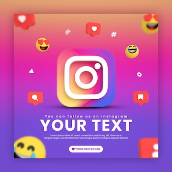 Social media instagram post template with emojis and icons