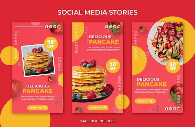 Social media instagram stories delicious pancake template