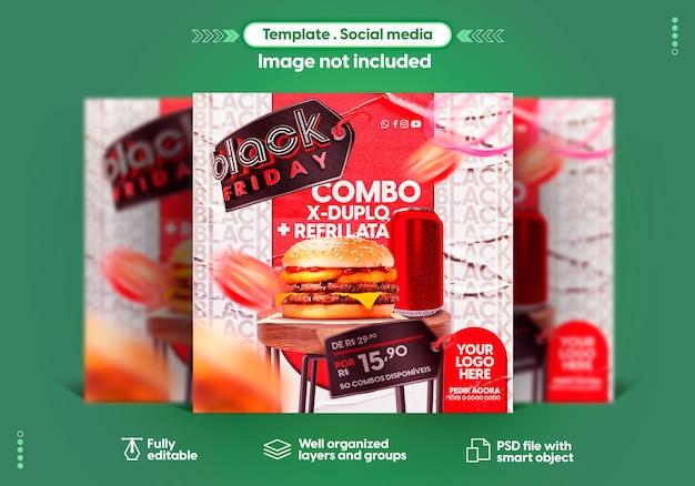Шаблон instagram в социальных сетях в португальской черной пятнице предлагает распродажи и продвижение продукции